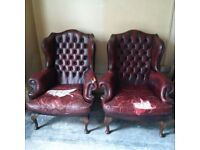 two large leather Chesterfield armchairs for a project can deliver