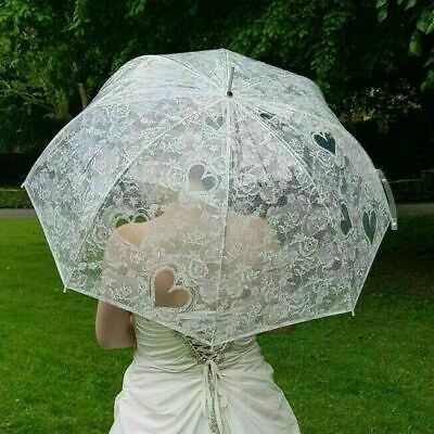 Wedding Umbrellas Clear Transparent with Lace Print Heart Roses Wedding in White