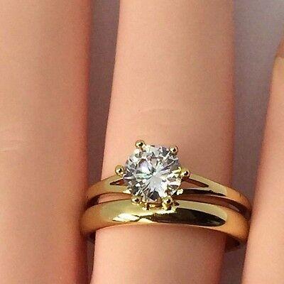 - 14k gold Overlay  Imitation Diamonds Bridal Engagement Wedding Ring Set LY44