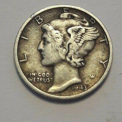 "1 Dime / 10 Cents 1943 D USA ""Mercury Dime"" 2,5 g .900 Silber KM#140"