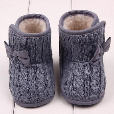 Xmas Cute Toddler Soft Shoes Baby Kids Boots Girl Winter Warm Bowknot Sole Shoes