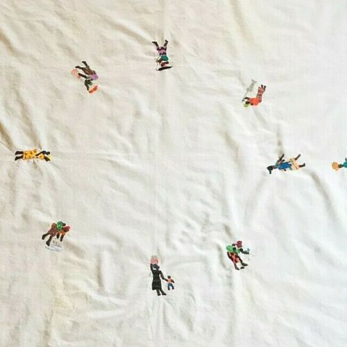 vintage tablecloth from Africa embroidered daily life Africans