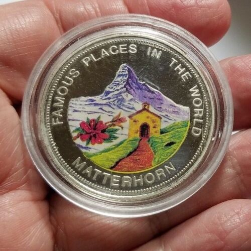 World's 1st Mint Colored SILVER Coin 2000 Shillings 1993 Uganda PROOF Matterhorn