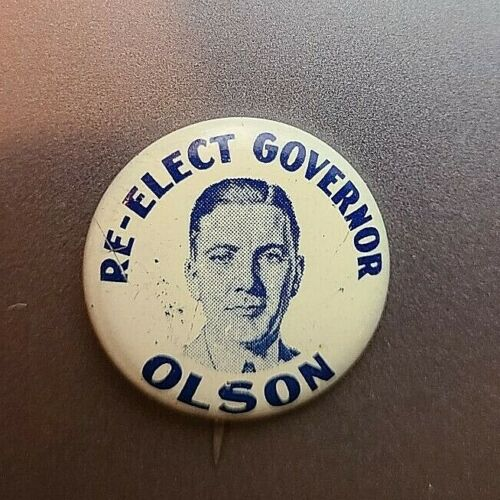 Campaign button Floyd Olson MN Governor 1931-1936 Farm-Labor 1934
