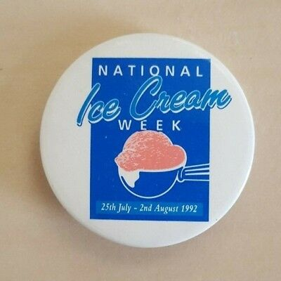 National Ice Cream Week 25th Jul -  2nd Aug 1992 Vintage Safety Pin Button Badge National Ice Cream