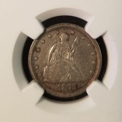 1875 S SEATED LIBERTY 20 CENT PIECE 20C NGC AU D HIGH GRADE SCARCE COIN