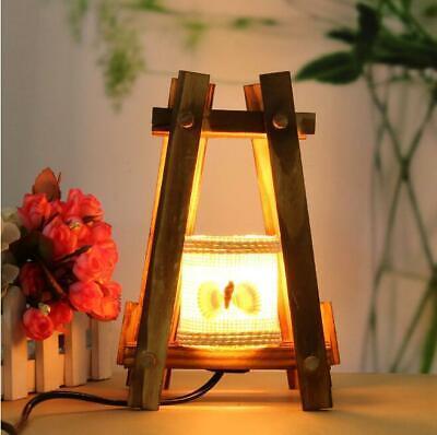 Retro Holz LED Tischlampe Tischleuchte Nachtlicht Schlafzimmer Dekoration 220v