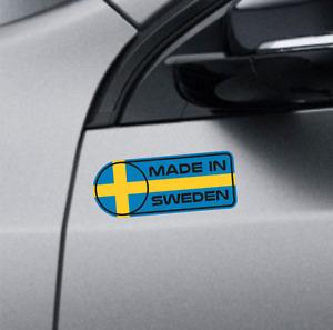 Made In Sweden Vinyl Decal Set Bumper Sticker Volvo S60 S90 Saab