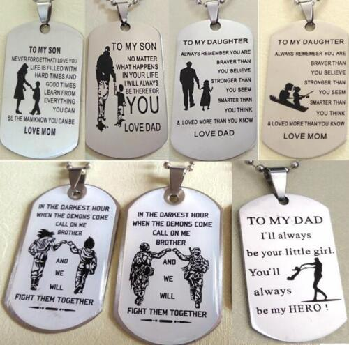 15pcs MIX Daugher Son Dad Brother GIFT FAVOR Stainless Steel Pendant With Chains