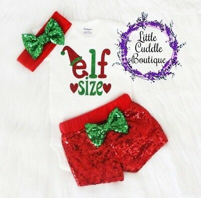 Elf Size Christmas Baby Shorts Outfit, Holiday Outfit, 1st Christmas Bodysuit - Elf Outfit Baby