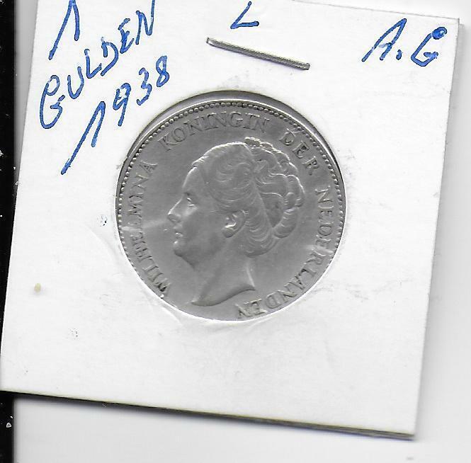 1 gulden wilhelmina 1938 argent