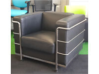 Black leather le corbusier style armchair cheap office furniture London harlow essex