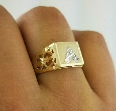 14k Yellow Gold Initial Ring - Initial Square Ring Alphabets A- Z Two Tone 14K White Gold Yellow Gold