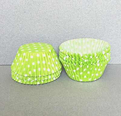 Lime Green Polka Dot Cupcake Liners, Lime Cupcake Wrappers, Lime Baking Cups ()