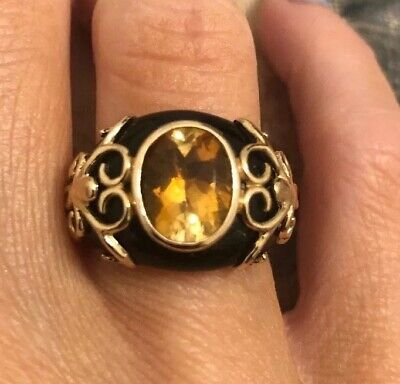 NYC II ONYX/CITRINE .925 GOLD PLATED RING SIZE 5