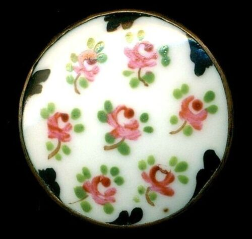 Antique Button…Pink Roses….Hand Painted Porcelain In  Metal