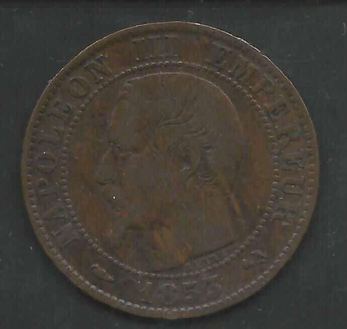 FRANCE,  1853-B,  5 CENTIMES, BRONZE,  KM#777.2,  VERY FINE+