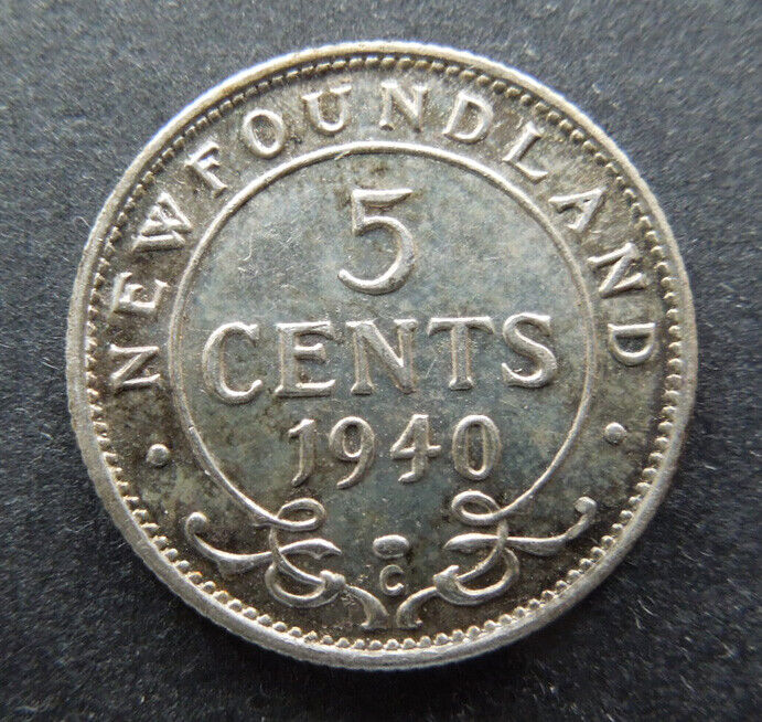 Newfoundland Canada 1940-C Five 5 Cents King George VI Silver Coin UNC