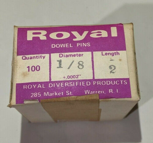 """Pack of 100 - 1/8"""" x 2"""" Royal Dowel Pins Alloy Steel"""