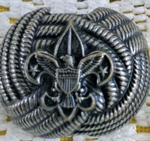 VINTAGE BSA BOY SCOUTS OF AMERICA Neckerchief Tie Slide Holder Embossed Metal