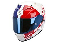New Scorpion EXO-1200 Quarterback Wht/Blu/Red Helmet - 5 Year Warranty