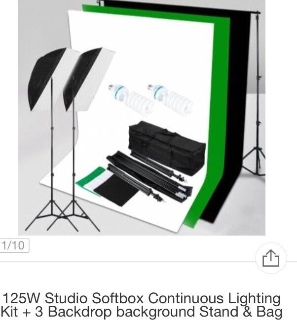 Studio Softbox Continuous Lighting Kit + 3 Backdrop background Stand & Bag for sale