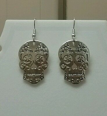 Silver color Sugar Skull dangle earrings
