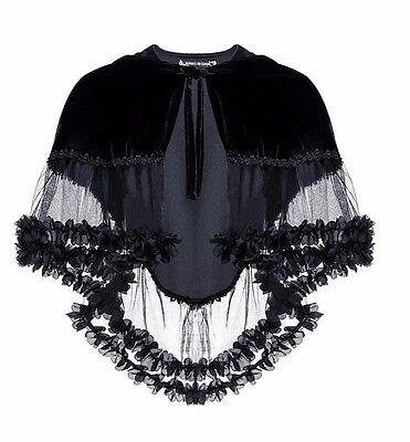 Dark in Love Velvet & Lace Hooded Capelet Gothic Victorian Elegant - Velvet Capelet