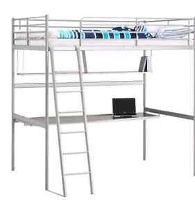 White Ikea loft bed with desk