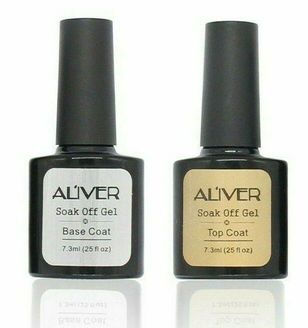 Aliver No Wipe Top Coat and Base Coat Nail Gel Polish Professional UV LED Gel