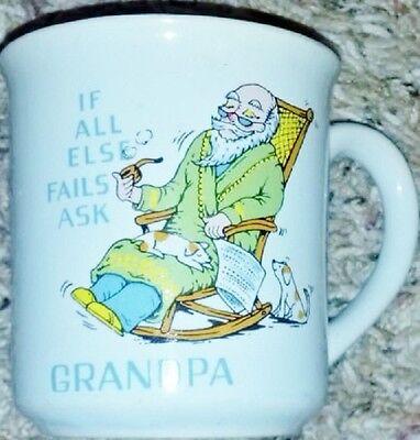 If All Else Fails Ask Grandpa Coffee Mug (Used) Vtg Mint Blue Porcelain Pipe Dog