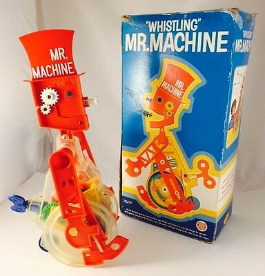 Vintage 1977 Mr. Machine Whistling Wind-Up Robot Ideal #8277-6 With Box