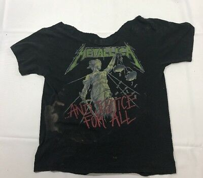 "Vtg 1988 Metallica Tour ""And Justice For All"" T-shirt Distressed High Fashion"