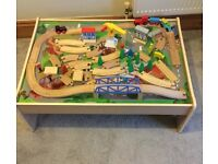 ELC Wooden Train Table with Track Trains