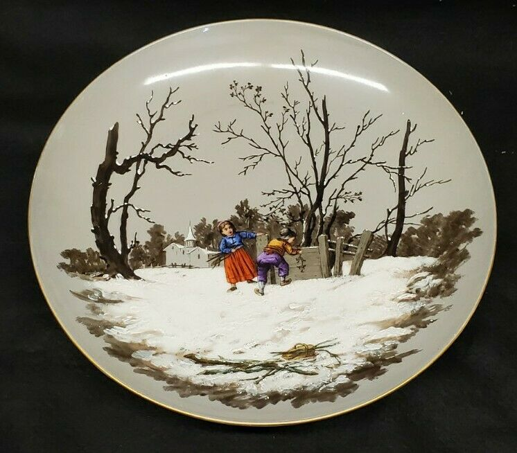 Hand Painted Porcelain Plate With Winter Scene  Russian 13 inch