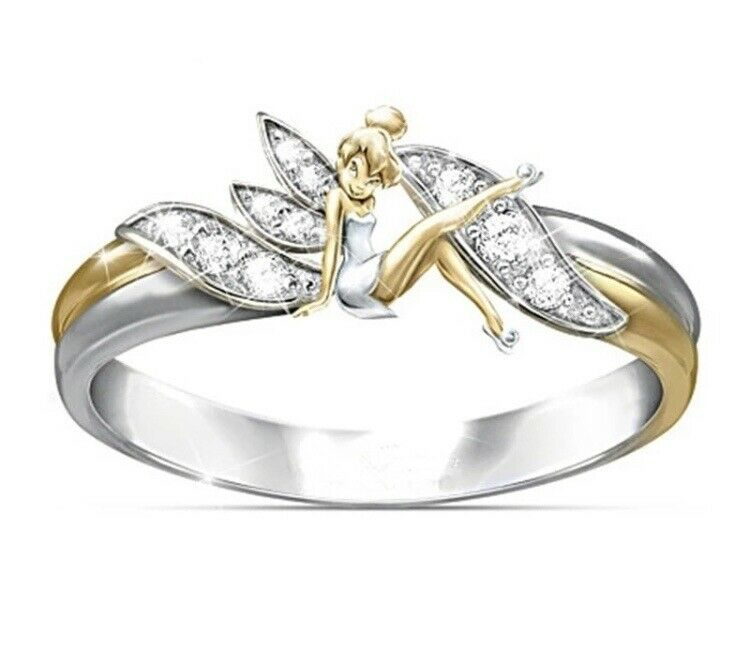 Disney ✨Tinkerbell ✨Ladies Ring Sterling Silver with Gold Trim