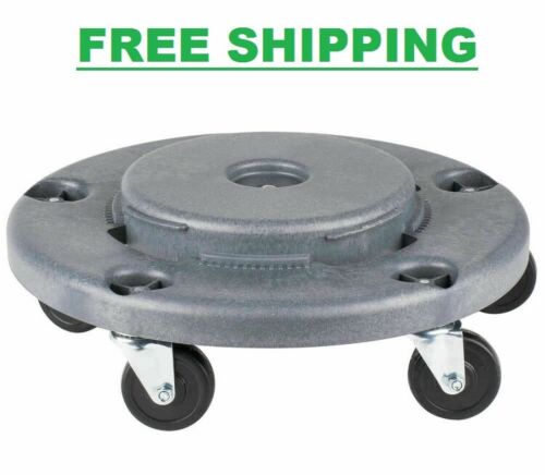 Gray Plastic Trash Garbage Can Bin Mobile Dolly w/ 5 Casters Commercial