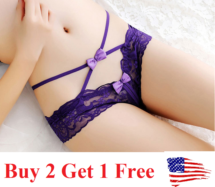 crutchless USA Sexy Women Lace Thong G-string Panties Lingerie Underwear  T-back Clothing, Shoes & Accessories