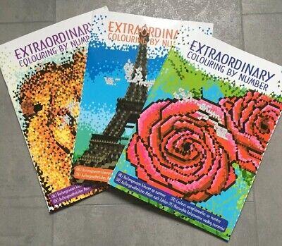 3x Malbuch Mandala Malen nach Zahlen Extrem Erwachsene Stift Malen Geschenk