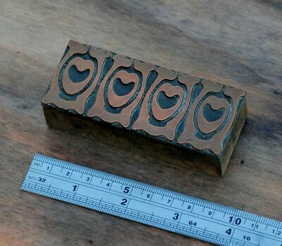 Letterpress Printing Block Ornament Art Nouveau Frame Wood Rare Copper Rare Old