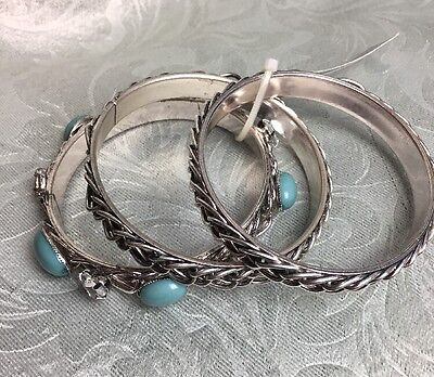 Three Costume Ideas (Set Of Three Silver & Turquoise Bangle Bracelets NEW WITH TAGS~ Gift)