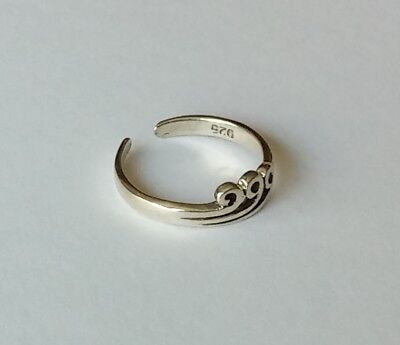 .925 Sterling Silver Adjustable Swirl Wave Toe Ring New!