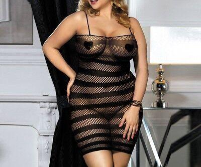 Body Stocking Lingerie Underwear Babydoll Plus Size #3 (Plus Size Fish Net Stockings)