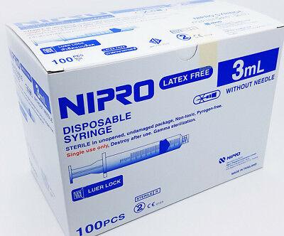 Plastic Syringes Bulk (x500 3ml Medical Sterile Disposable Syringe Luer Lock Plastic Bulk Pack)