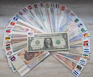 New Paper Money 100 World Banknotes UNC from 50 countries