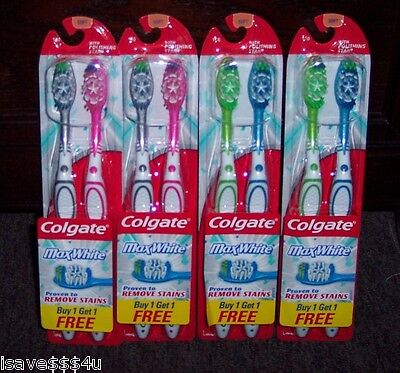 NEW LOT OF 8 COLGATE MAX WHITE TOOTHBRUSHES WITH POLISHING STAR - SOFT FULL (Colgate Max White Toothbrush With Polishing Star)