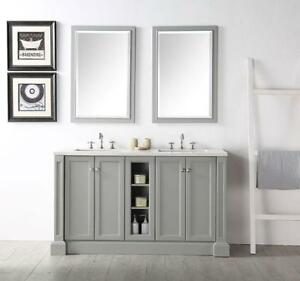 60 In. Freestanding Bathroom Vanity Set with Double Mirrors and Sinks