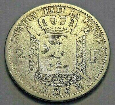 2 Francs frank 1868 FR Z.Fraai LEOPOLD II Belgique Belgïe Belgium KM# 30