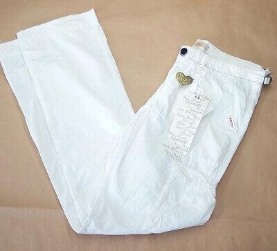 Pantalone donna tg. 42 L32 Gaudì bianco 100% Cotone cargo dritti RP € 130