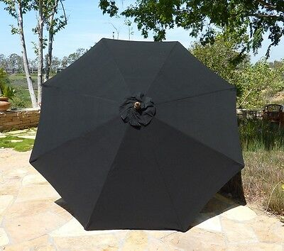 9ft Umbrella Replacement Canopy 8 Ribs in Black (Canopy Only)